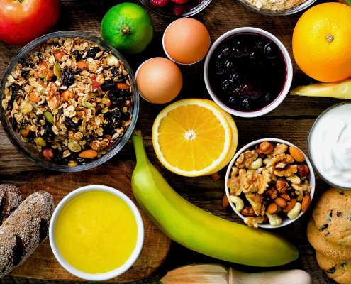 Delicious and healty foods on a wooden table